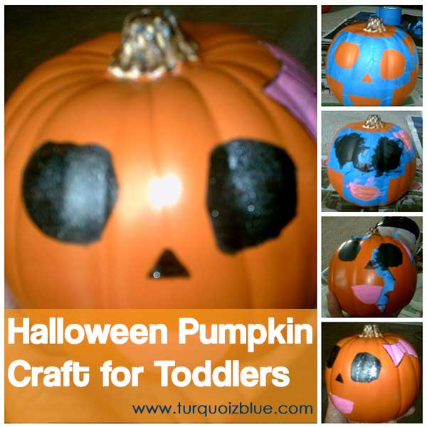 Halloween Pumpkin Craft for Toddlers - Tutorial - www.turquoizblue.com