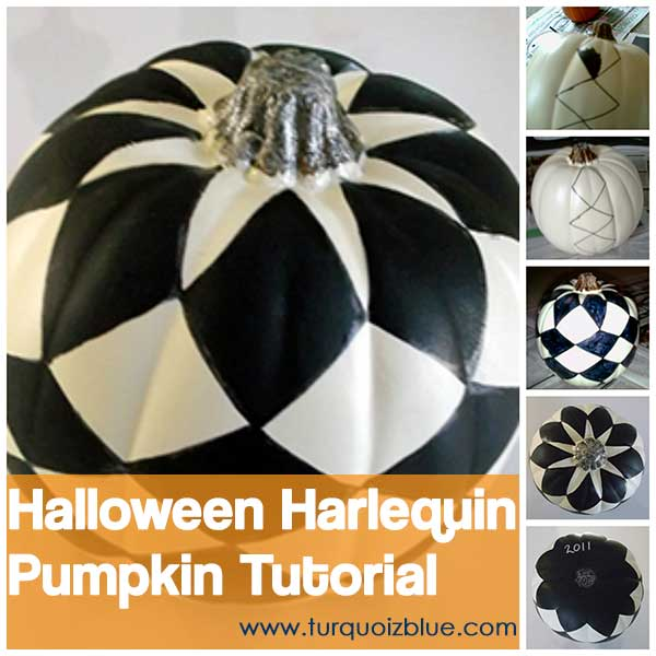 Halloween Harlequin Pumpkin Tutorial by turquoizblue.com
